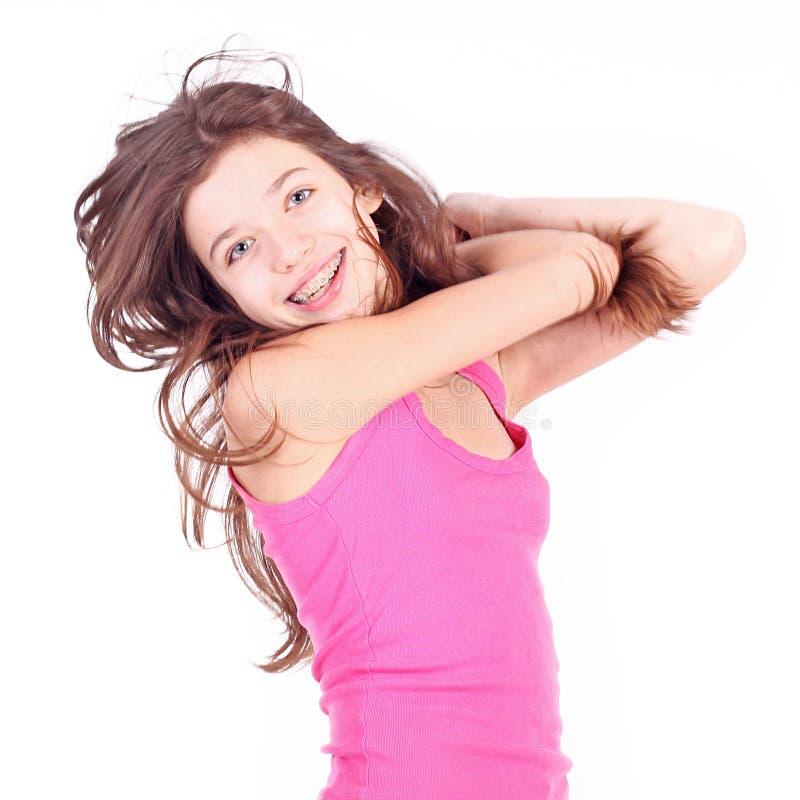 Menina adolescente com suportes imagem de stock