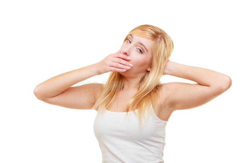 Menina adolescente da jovem mulher cansado sonolento que boceja imagens de stock