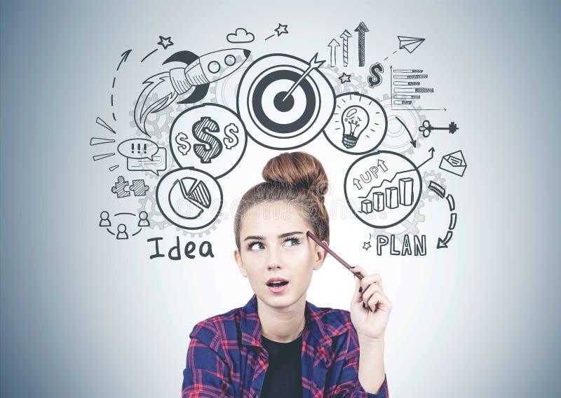 Menina adolescente de pensamento, estratégia empresarial foto de stock