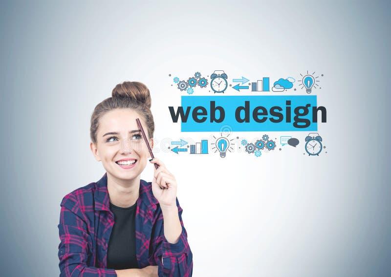 Menina adolescente de sorriso, design web imagens de stock royalty free