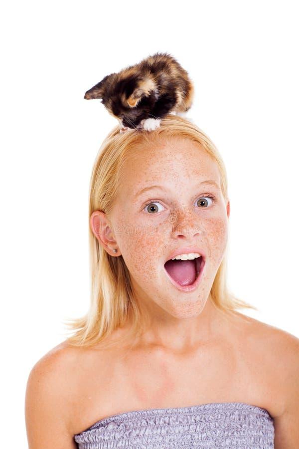 Menina adolescente do gatinho fotos de stock royalty free