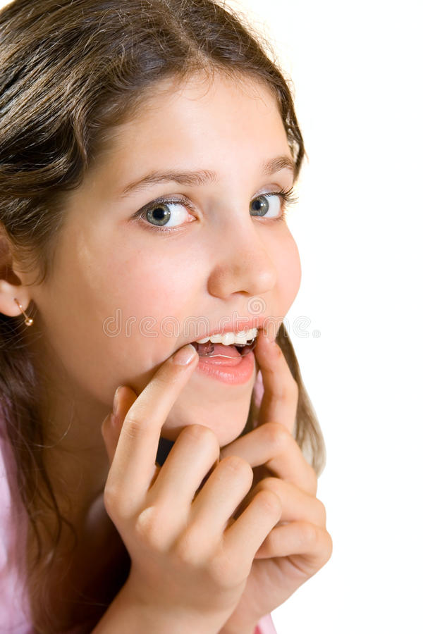 Menina adolescente encantadora com bteaker fotografia de stock royalty free