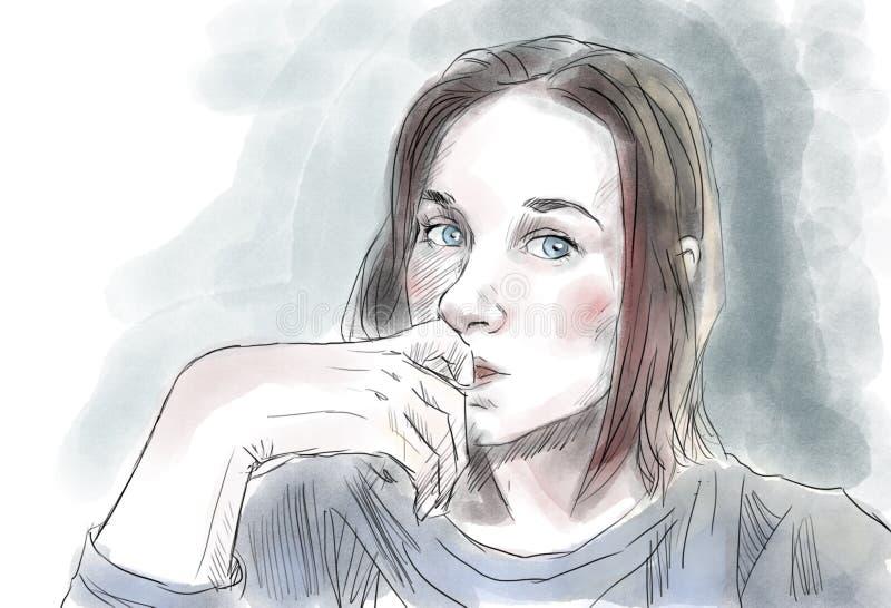 Menina adolescente Luz do vetor art imagens de stock royalty free