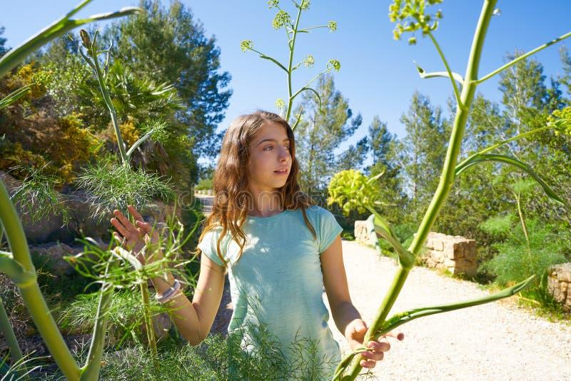 Menina adolescente moreno na trilha mediterrânea foto de stock royalty free