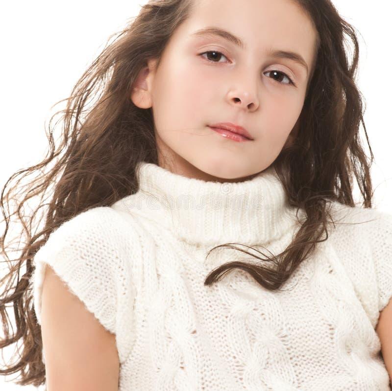 Menina adolescente no branco imagens de stock royalty free