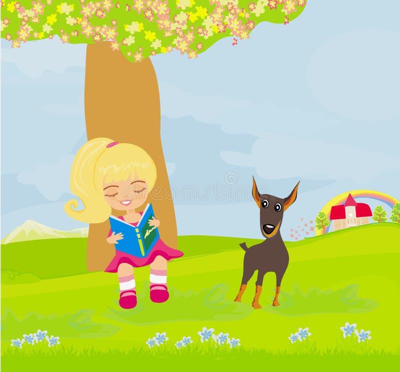 Download Menina Adolescente Que Lê Um Livro Ilustração Stock - Ilustração de escolar, infante: 29833463