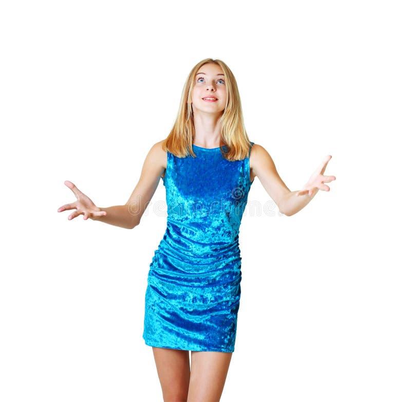 Menina adolescente que tenta travar algo fotografia de stock royalty free