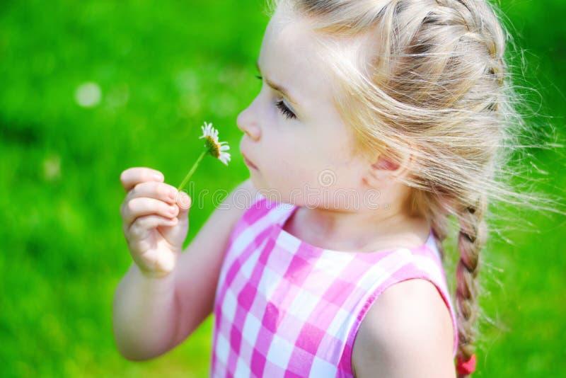 Menina adorável com a margarida no dia de verão ensolarado fotografia de stock royalty free