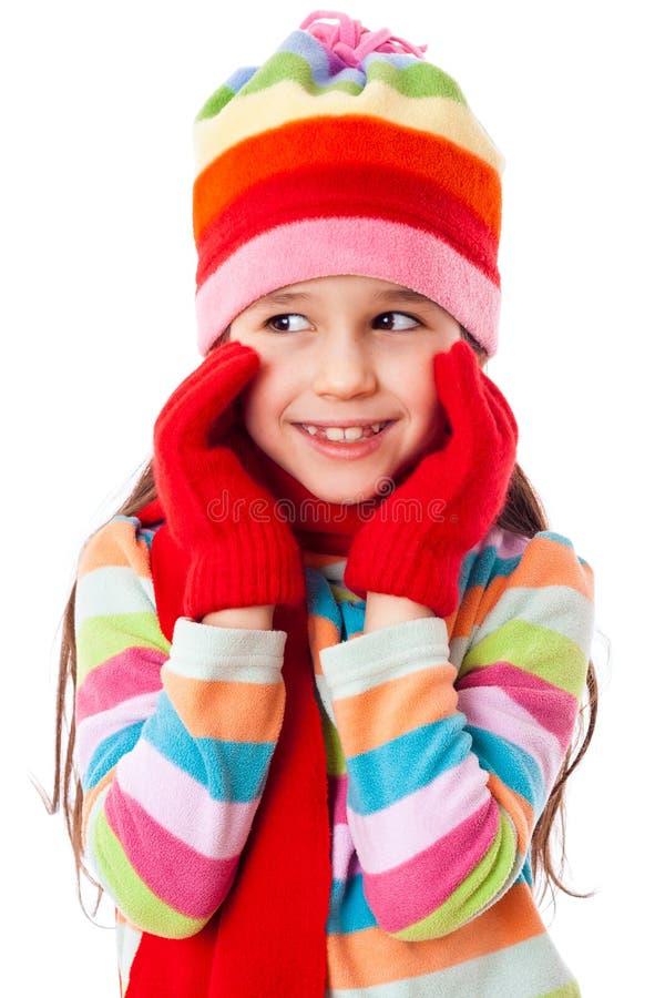 Menina adorável na roupa do inverno foto de stock