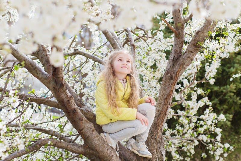Menina adorável no jardim de florescência da árvore de cereja no dia de mola bonito fotografia de stock royalty free