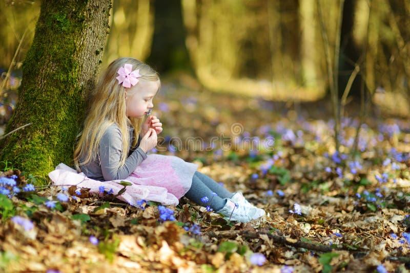 Menina adorável que escolhe as primeiras flores da mola nas madeiras no dia de mola ensolarado bonito fotografia de stock royalty free