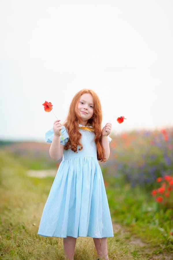 Menina adorável que joga no prado com wildflowers foto de stock royalty free