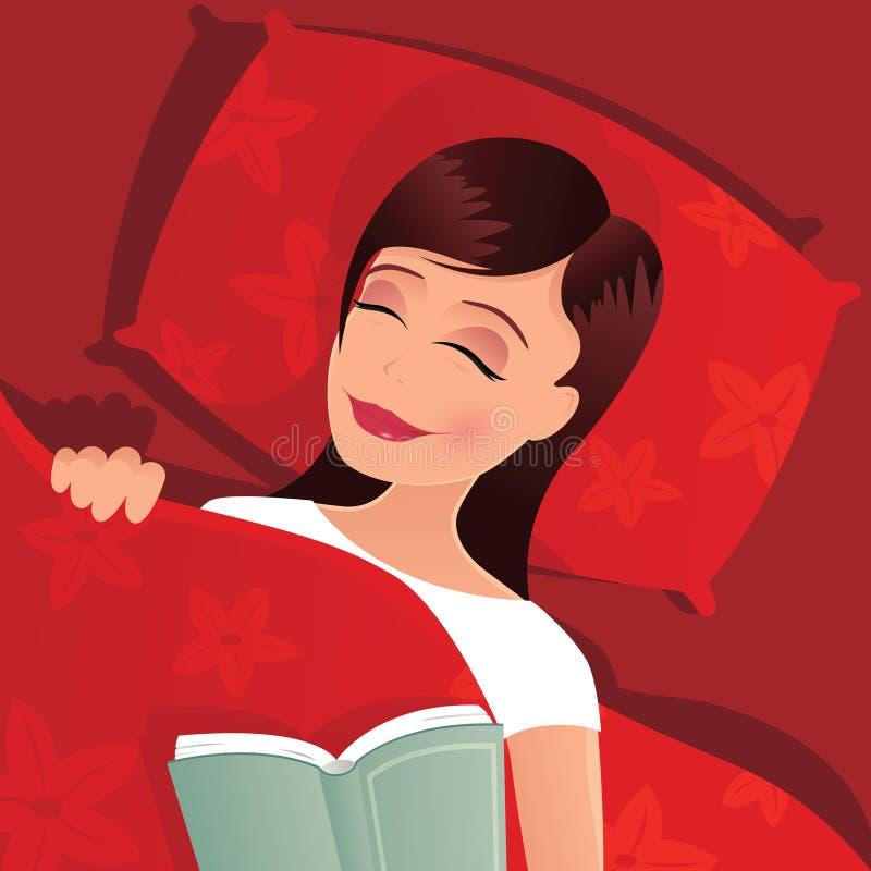 Menina adormecida na cama ilustração royalty free