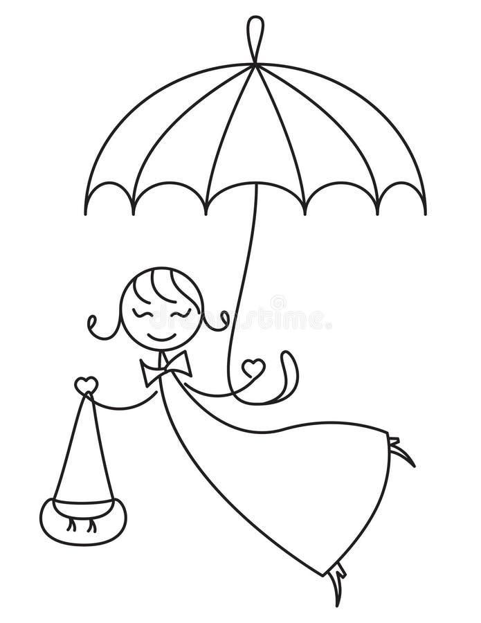 Menina afortunada sob o guarda-chuva ilustração do vetor