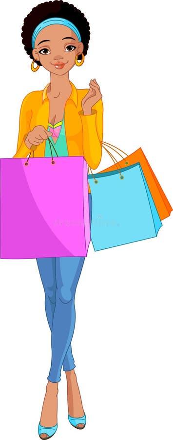 Menina africana com sacos de compra ilustração royalty free