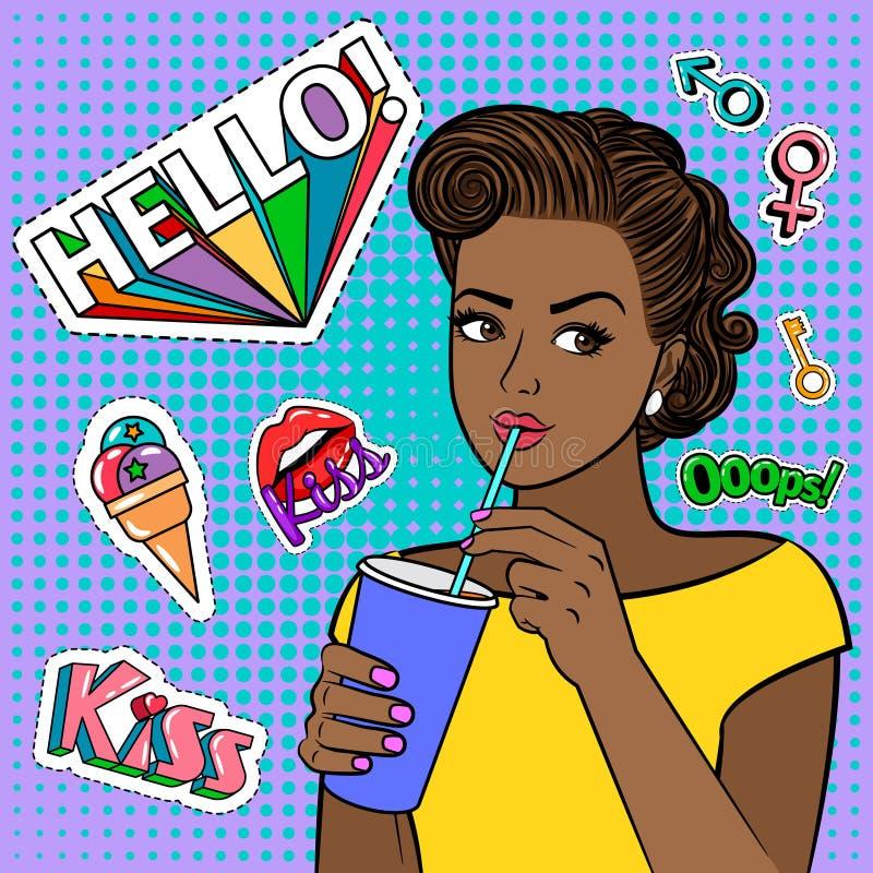 Menina africana do pop art com bebida ilustração royalty free