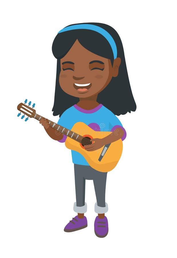 Menina africana que canta e que joga a guitarra acústica ilustração royalty free