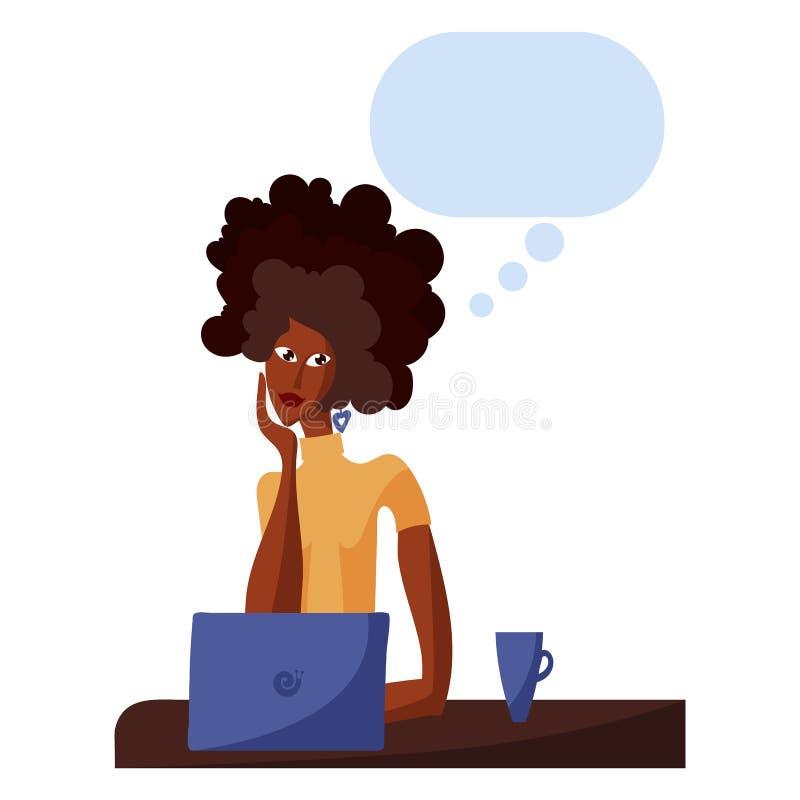 Menina afro-americana bonita que sonha no escritório ilustração royalty free