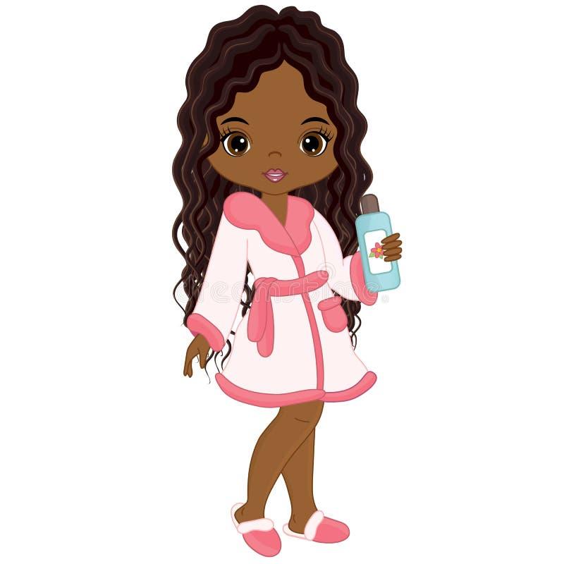 Menina afro-americano bonita do vetor que toma o tratamento dos termas ilustração royalty free