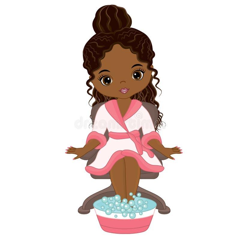Menina afro-americano bonita do vetor que toma o tratamento dos termas ilustração stock