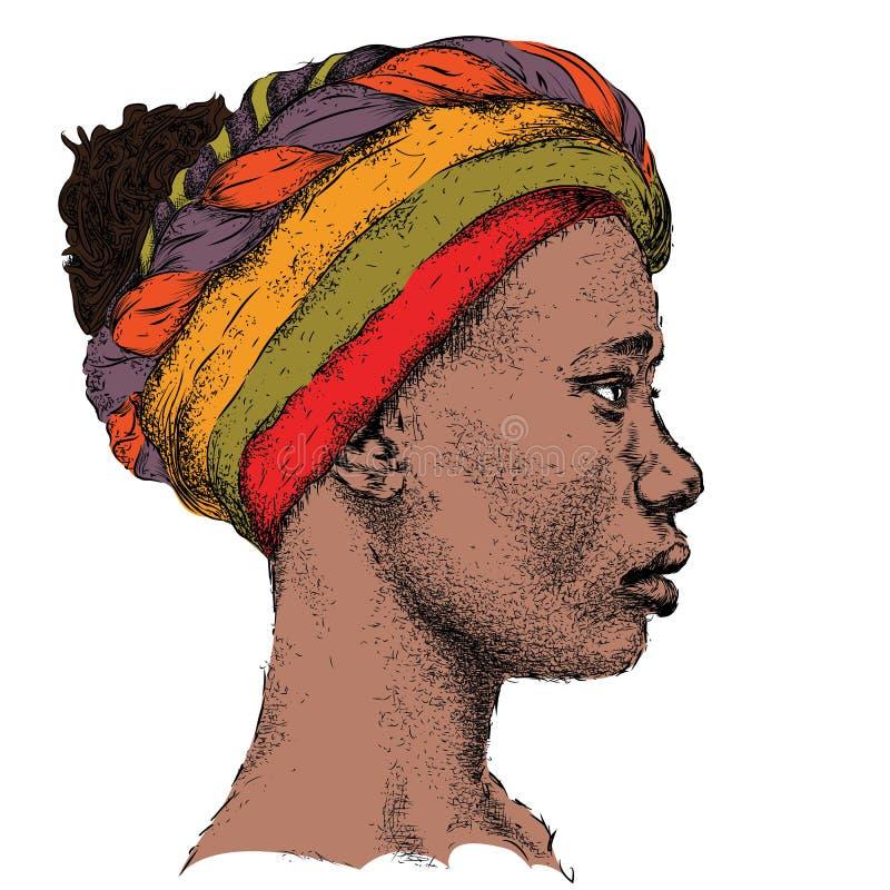 Menina afro-americano bonita em um turbante colorido Mulher preta bonita Opinião do perfil Ilustração do vetor da tração da mão ilustração stock