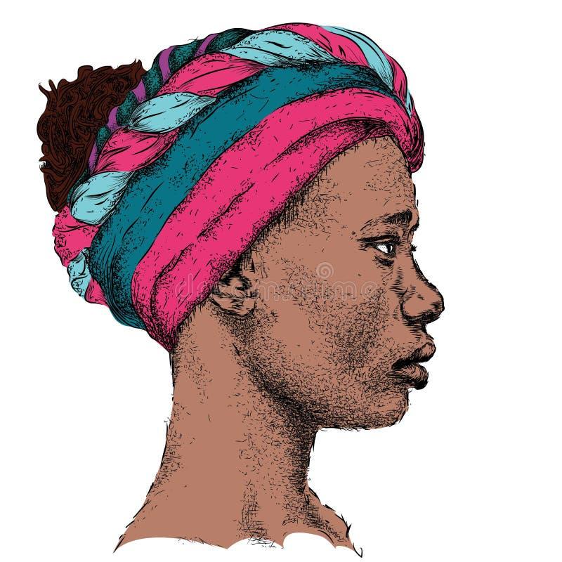 Menina afro-americano bonita em um turbante colorido Mulher preta bonita Opinião do perfil Ilustração do vetor da tração da mão ilustração royalty free
