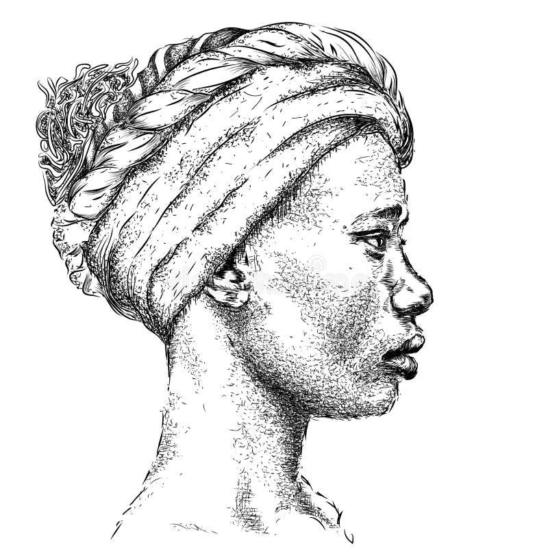 Menina afro-americano bonita em um turbante Mulher preta bonita Opinião do perfil Ilustração do vetor da tração da mão ilustração royalty free