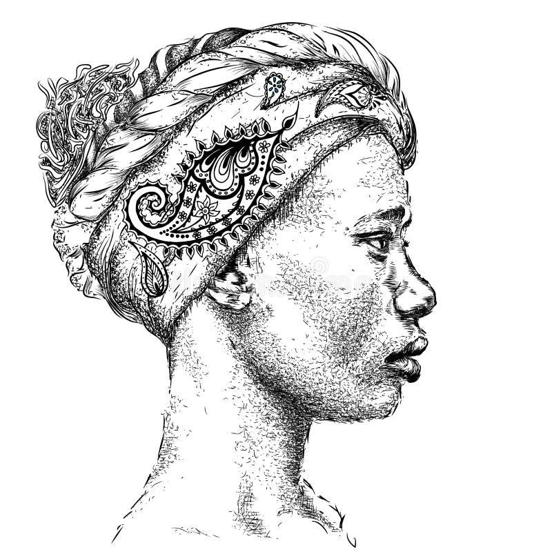 Menina afro-americano bonita no turbante com Paisley ilustração do vetor
