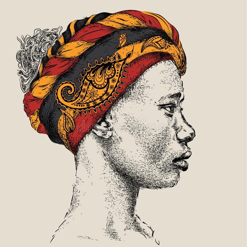 Menina afro-americano bonita no turbante com Paisley Mulher preta bonita Opinião do perfil Ilustração do vetor da tração da mão ilustração do vetor
