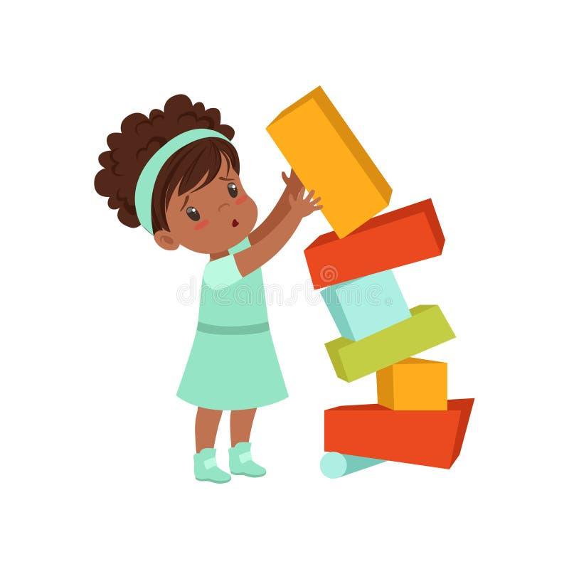 A menina afro-americano bonito que joga com brinquedo obstrui a ilustração do vetor em um fundo branco ilustração stock
