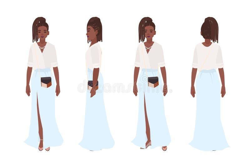 Menina afro-americano de sorriso vestida na roupa ocasional à moda Jovem mulher bonita que veste a saia maxi Equipamento na moda ilustração royalty free