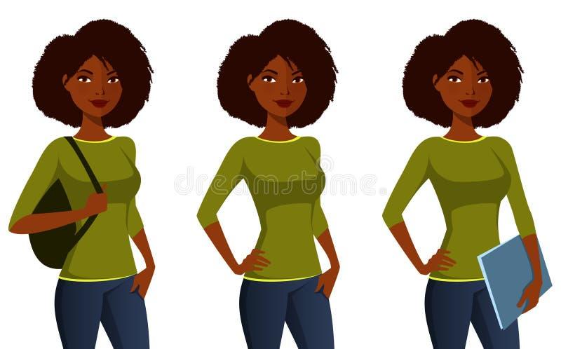 Menina afro-americano do estudante ilustração royalty free