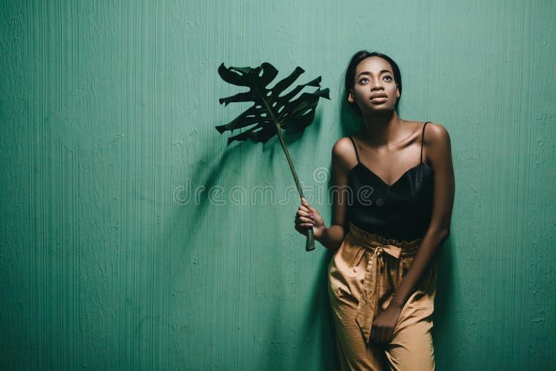 Menina afro-americano nova bonita que levanta na parede verde Arrelia foto de stock