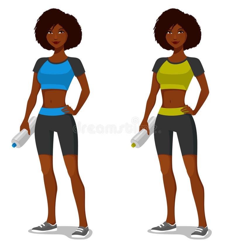 Menina afro-americano nova no equipamento desportivo ilustração stock