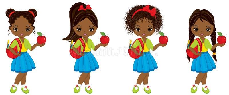Menina afro-americano pequena bonito do vetor com sacos de escola e as maçãs vermelhas ilustração royalty free