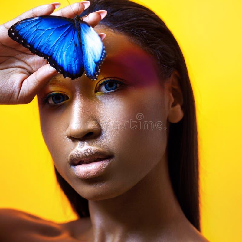 Menina afro bonita nova, com borboleta azul, retrato da beleza no fundo amarelo fotografia de stock