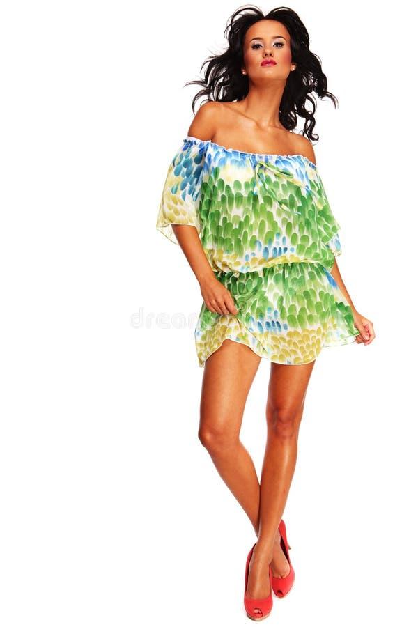 Menina agradável no vestido da forma fotografia de stock royalty free