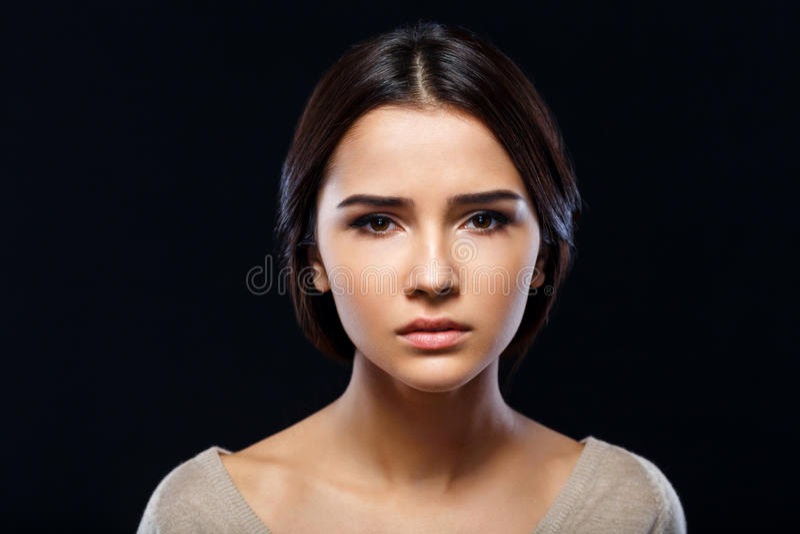Menina agradável que expressa emoções imagens de stock