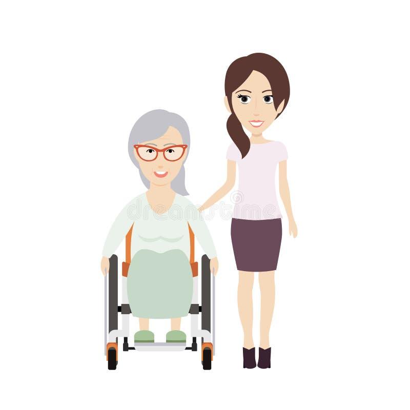 A menina ajuda a avó ilustração do vetor