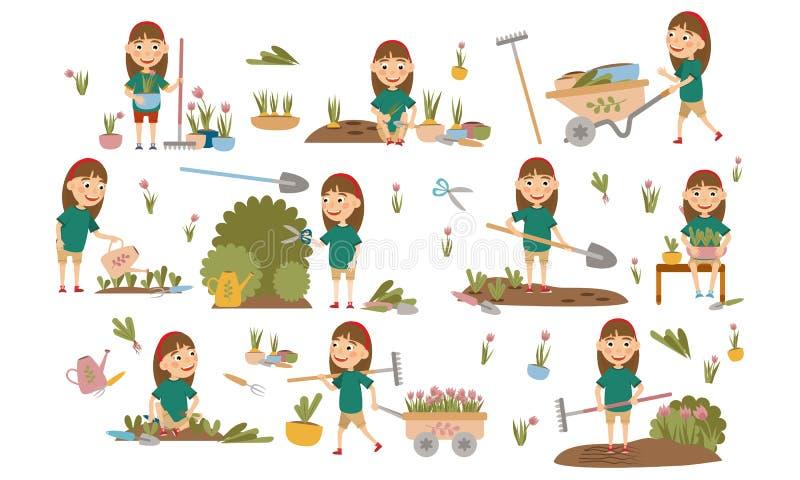 Menina ajustada com as plantas de jardinagem da decoração do cabelo, as camas da erva daninha, plântulas molhando, arbustos de po ilustração stock
