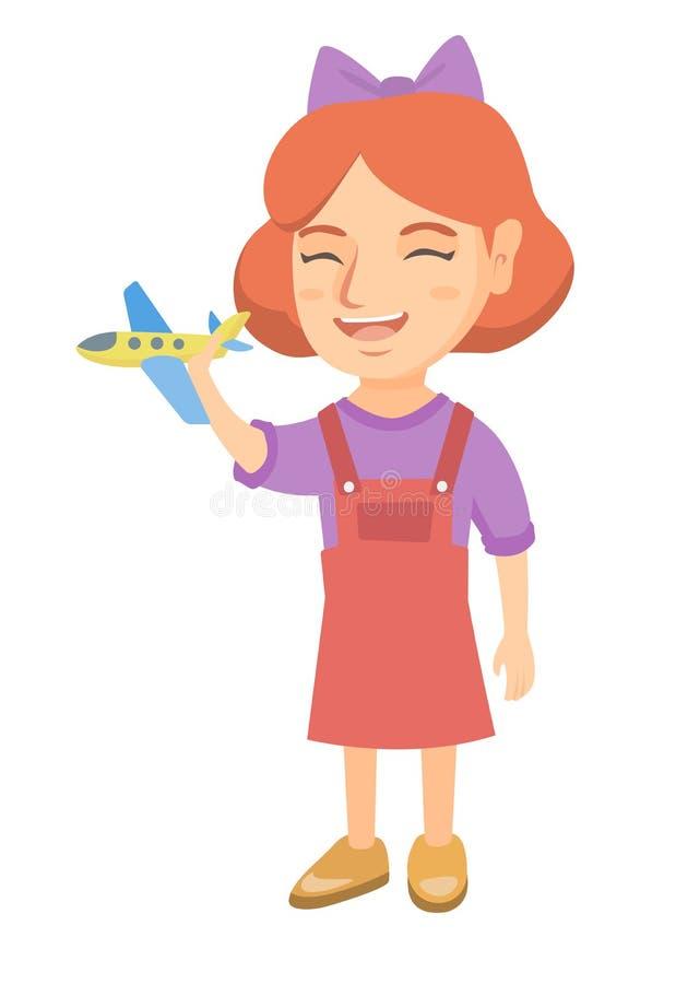 Menina alegre caucasiano que joga com avião do brinquedo ilustração do vetor
