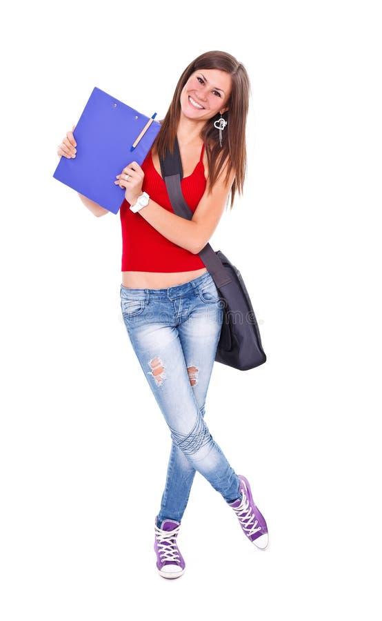 Menina alegre do estudante fotografia de stock