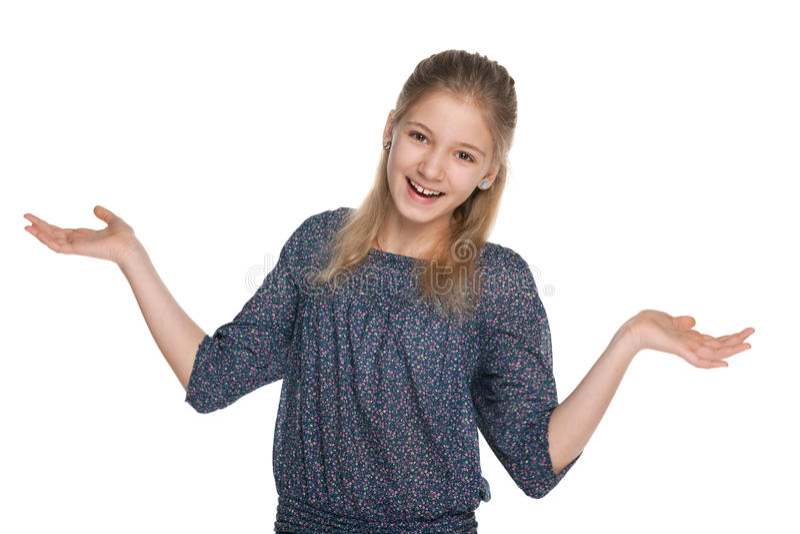 Menina alegre do preteen contra o branco imagens de stock