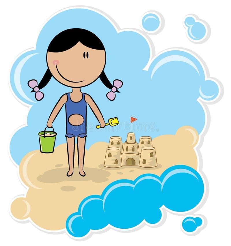 Menina alegre e o castelo da areia ilustração do vetor