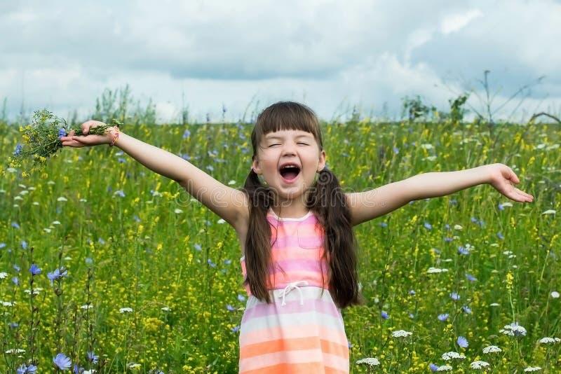 A menina alegre exulta e gritando em um prado fotografia de stock