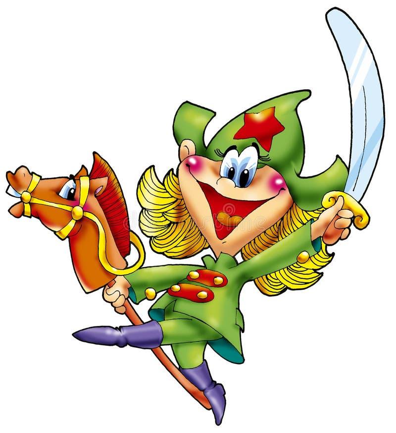 A menina alegre o cavalryman com um sabre. ilustração do vetor