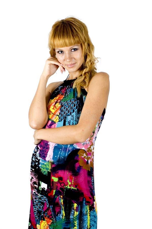 Menina amável no vestido colorido foto de stock royalty free