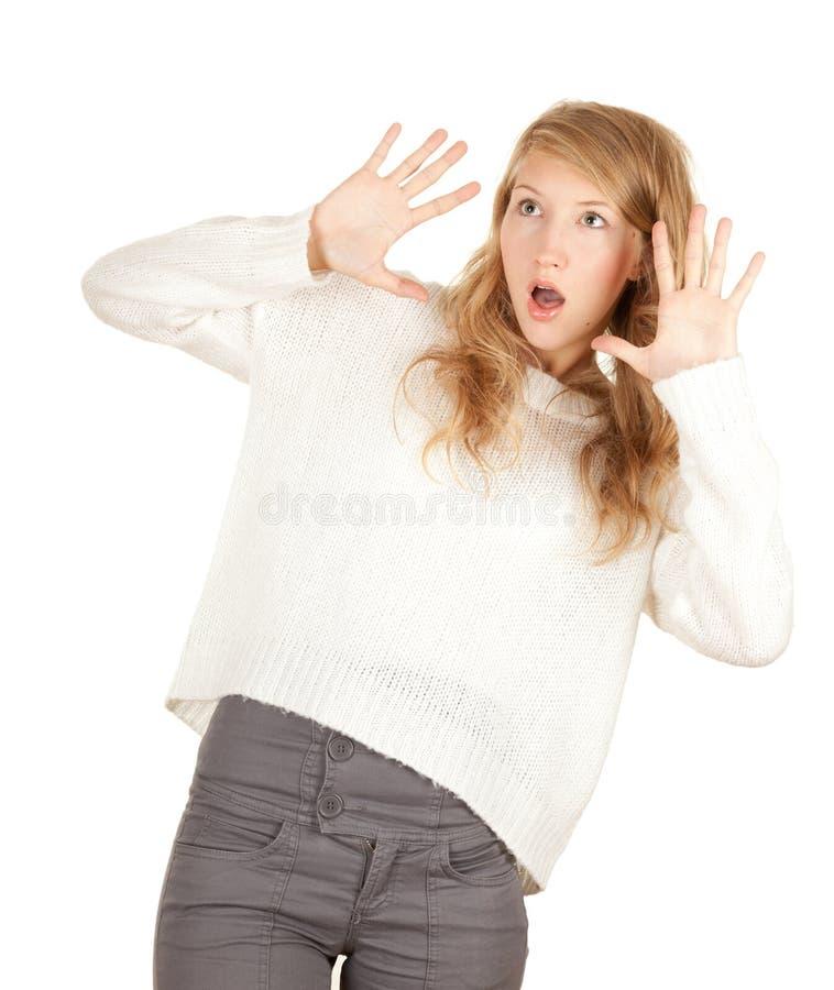 Menina amedrontada foto de stock