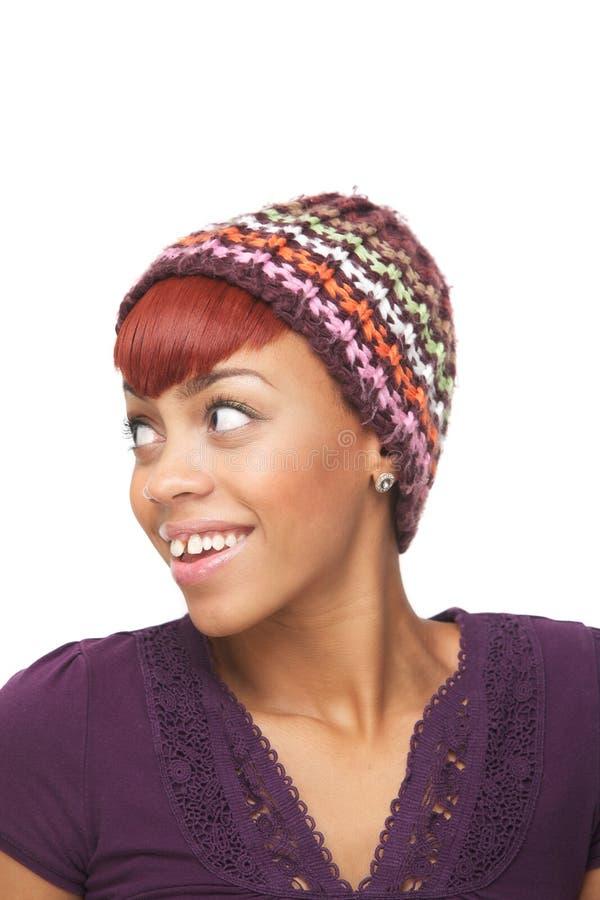 Menina americana africana bonito que olha afastado foto de stock royalty free