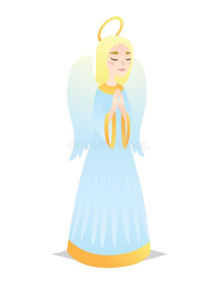 Menina angélico Jovem mulher bonito no estilo do anjo com rezar das asas Vetor ilustração royalty free